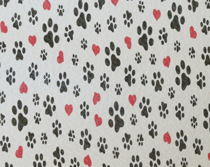 "Leather 12""x12"" DOG and CAT Paws with Red HEARTS on White cowhide 3-3.25 oz / 1.2-1.3 mm PeggySueAlso™ E4700-02 hides available"