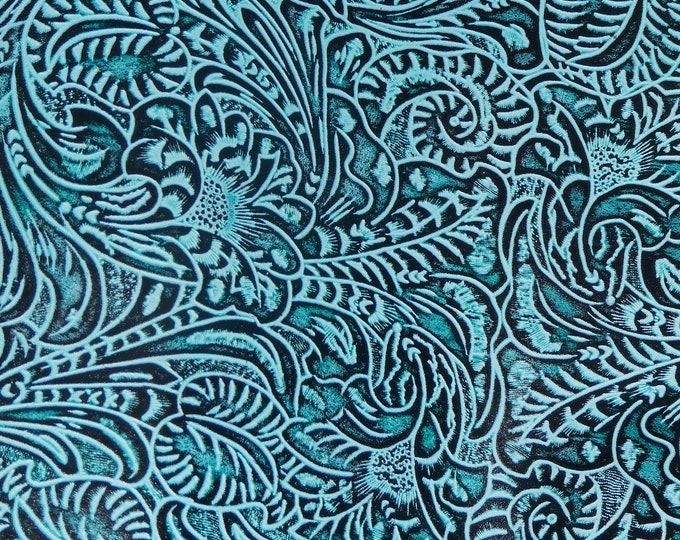 "Leather 12""x20"", 10""x24"" Western Tool Floral and Leaf AQUA Marine Pattern 3.5-4 oz/ 1.4-1.6 mm PeggySueAlso™ E2838-04"
