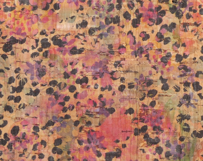 """Cork 8""""x10"""" HAND PAINTED flowers with animal spots on NATURAL Cork applied to leather Thick 5oz/2mm PeggySueAlso™ E5610-178"""