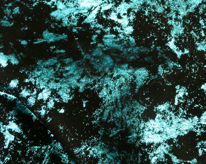 "Metallic Leather 12""x20""+Northern Lights TURQUOISE Blue on BLACK Suede Cowhide 3.5 oz / 1.4 mm PeggySueAlso™ E6525-08 Hides available"