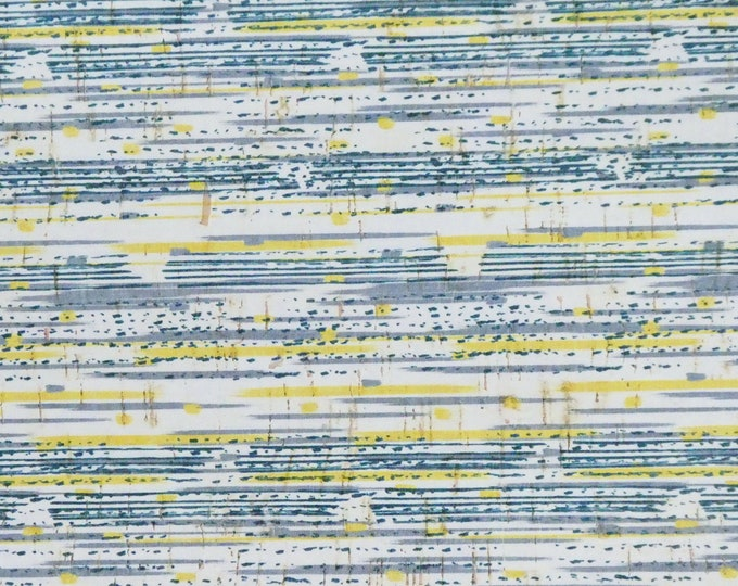 """CORK 12""""x12"""" STRIPED Yellow Gray Navy CoRK applied to Leather 4 body/strength Thick 5oz/2mm PeggySueAlso™ E5610-80-80"""