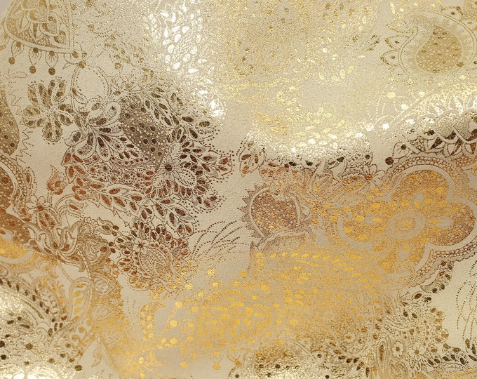 "Leather 20""x20"" Paisley Love GOLD Metallic on BEIGE Soft Cowhide Leather 3-3.5oz /1.2-1.4 mm PeggySueAlso™ E3110-06 Hides available"