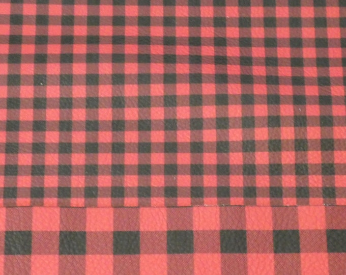 "5""x11"" PETITE (50% smaller) Buffalo Plaid RED and BLACK Leather Cowhide 3.5 oz/ 1.4 mm #250 PeggySueAlso™ E1180-01A Hides available"