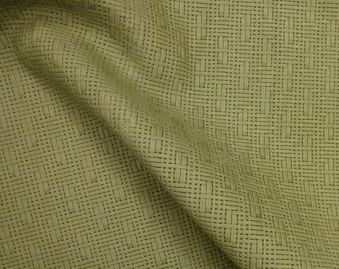 """Leather 5""""x11"""" Panama ASPARAGUS Green Basket Weave Embossed Cowhide 2-2.5 oz/0.8-1 mm PeggySueAlso™ E8000-09"""