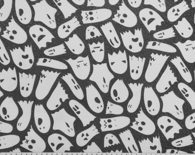 Halloween Leather 3 or 4 or 5 or 6 sq ft GHOSTS on BLACK Cowhide 2.75-3 oz/1.1-1.2 mm PeggySueAlso™ E4601-02