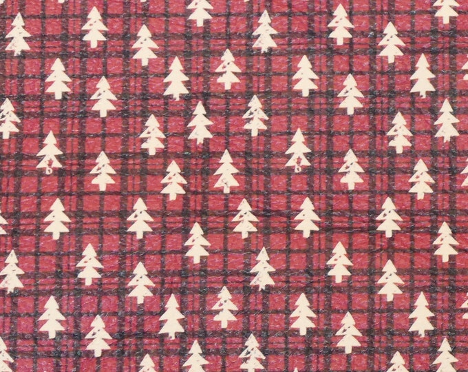 """NEW Leather 12""""x12"""" TINY White Christmas TREES on Red and Black plaid Cowhide 3-3.5 oz/1.2-1.4 mm PeggySueAlso™ E1382-16 hides available"""
