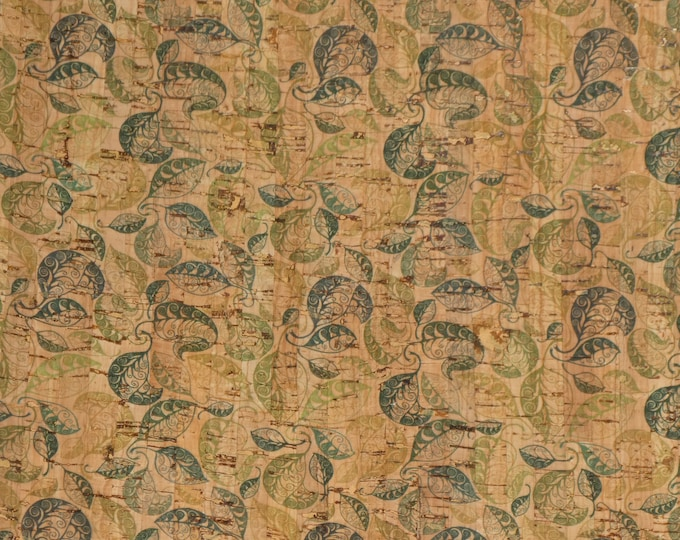 """NEW CORK 12""""X12"""" Multi Green Leaves on Natural CoRK applied to Cowhide Leather for body/strength Thick 5oz/2mm PeggySueAlso E5610-48 trial"""