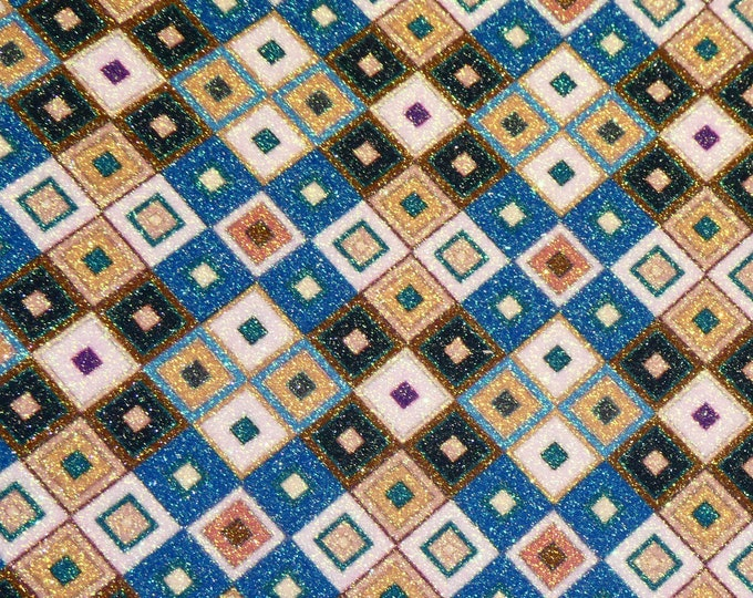 "FINE Glitter 12""x12"" Geometric squares Glitter Fabric applied to Leather Thick 5.5-6 oz /2.2-2.4 mm PeggySueAlso™ E4360-03"