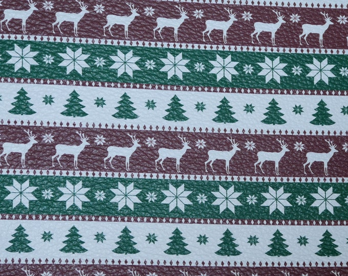 "Leather 8""x10"" GREEN White and Cranberry Christmas SWEATER Cowhide 2.75-3 oz/1.1-1.2 mm PeggySueAlso™ E1382-14"