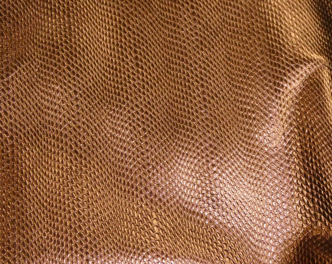 "Metallic Leather 12""x12"" Amazon Cobra BRONZE larger print Cowhide 2.5-2.75 oz / 1-1.1 mm PeggySueAlso™ E2846-17"