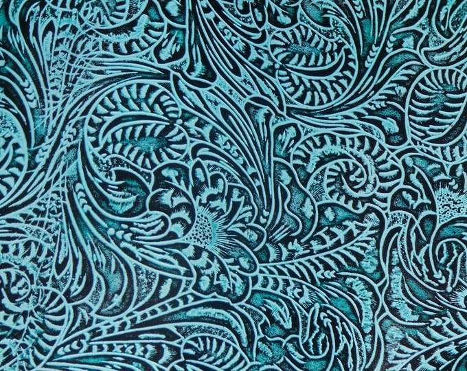 """Leather 12""""x12"""" Western Tool Floral and Leaf AQUA Marine Tooled Pattern 3.5-4 oz/ 1.4-1.6 mm PeggySueAlso™ E2838-04 Hides too"""