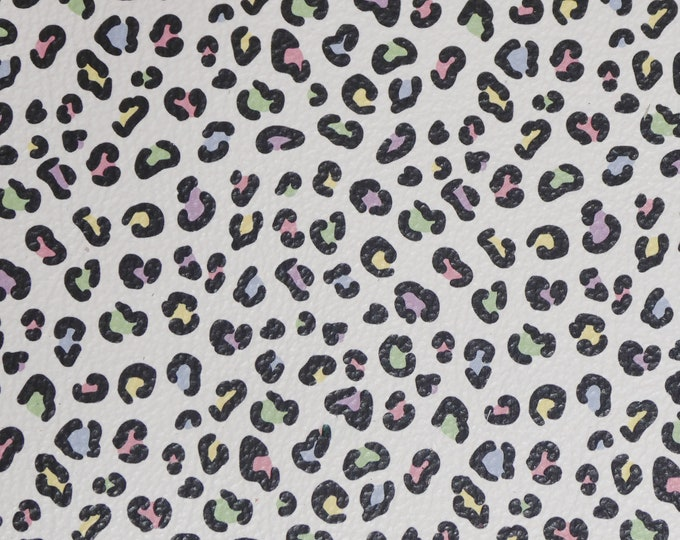 Leather 3-4-5 or 6 sq ft Tiny PASTEL Rainbow LEOPARD Print pink green blue black on White 3-3.25 oz/1.2-1.3mm PeggySueAlso™ E2550-21