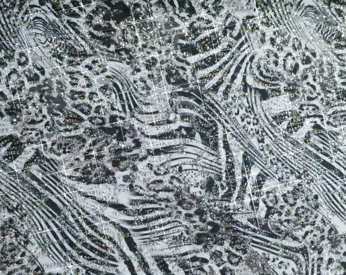 """Chunky Glitter 12""""x12"""" Silver GLITTER in the WILD Leopard Tiger Fabric applied to Leather Thick 5.5-6oz/2.2-2.4mm PeggySueAlso™ E4355-33"""