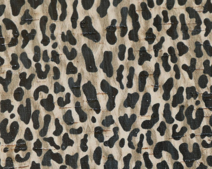"NeW 8""x10"" CORK DESERT LEOPARD Accents on Cowhide Leather Thick 5oz/2mm PeggySueAlso™ E5610-112 hides available"