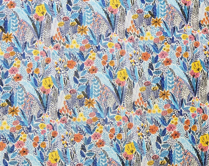"Leather 5""x11"" TROPICAL FLORAL in BLUE Cowhide 3-3.5 oz/1.2-1.4 mm PeggySueAlso™ E2508-02"