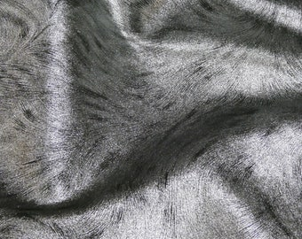 """Leather 8""""x10""""  BRUSHED SILVER Metallic on Black Soft Cowhide Leather 3-3.5 oz /1.2-1.4 mm PeggySueAlso™ E3112-01 Trial"""
