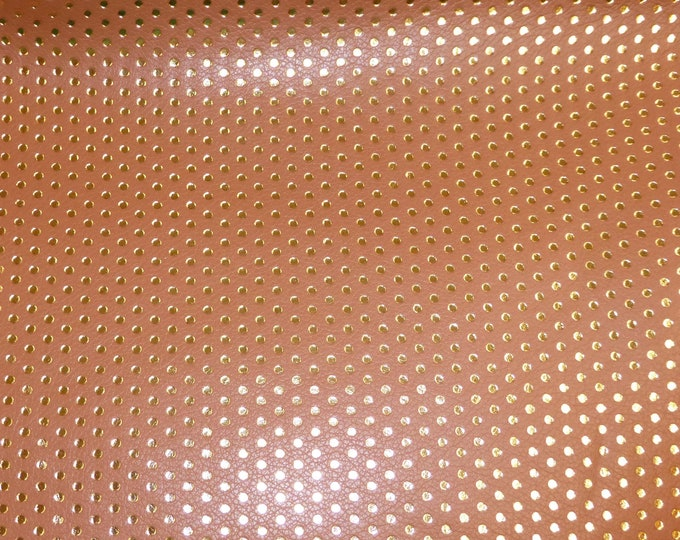 """Leather CLOSEOUT 5""""x11"""" Small GOLD Metallic Polka Dots on WILLOW Divine Cowhide 2-2.5 oz /0.8-1mm PeggySueAlso™ E3090-39"""