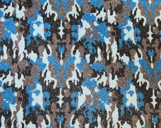 "FINE Glitter 12""x12"" Multi BLUE CAMO Glitter Fabric applied to Leather Thick 5.5-6 oz /2.2-2.4 mm PeggySueAlso™ E4360-06"