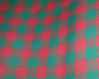 "Leather 5""x11""  Mini Buffalo Plaid GREEN and RED Cowhide Digital Print #367  2 oz/ 0.8 mm PeggySueAlso™ E1180-05"