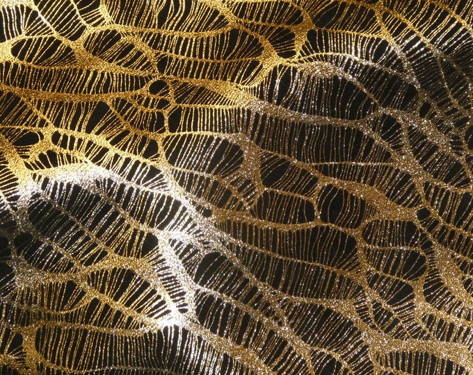 "Leather 12""X12"" Complex Spider Web GOLD METALLLIC / Black Soft Cowhide 3.25-3.5oz /1.3-1.4mm PeggySueAlso™ E3113-09"