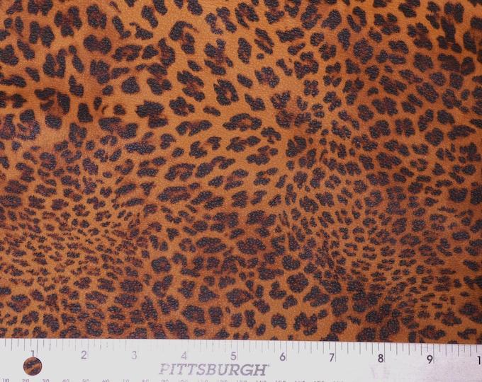 "Leather 5""x11"" TIGERS EYE Banana Leopard Cheetah Print Cowhide on Toast 3.25-3.75oz/1.3-1.5mm #274 PeggySueAlso™ E2550-12"