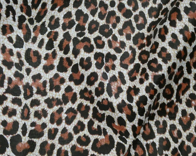 "Leather 8""x10"" Mini Rust and Black Cheetah / Leopard Print Grain NOT hair on Cowhide 2.25oz / 0.9 mm PeggySueAlso™ E2546-01 hides available"