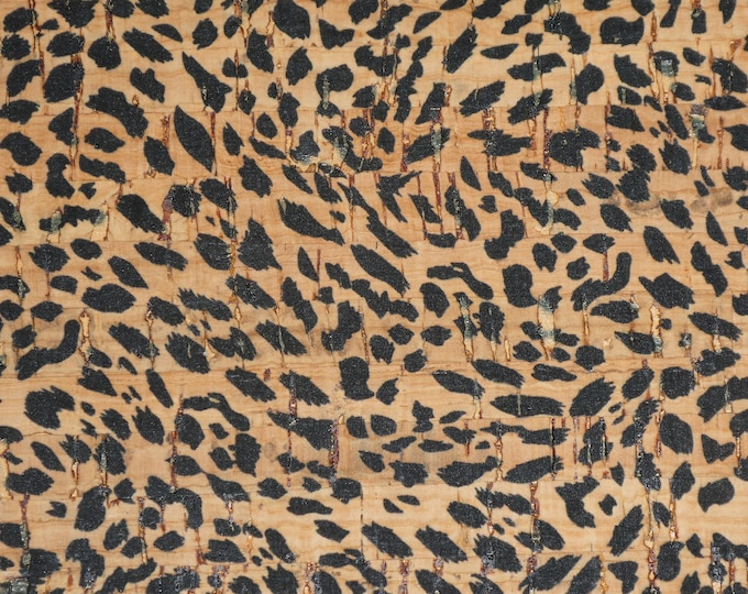 "Cork 5""x11"" Black spotted Cheetah Cub on Natural CORK applied to Cowhide Leather for body/strength Thick 5oz/2mm PeggySueAlso #184 E5610-41"
