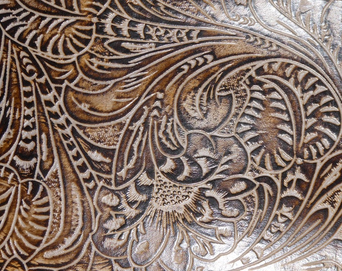 """Leather 12""""x20"""" or 10""""x24"""" Western Tool Floral leaf COCONUT on CHOCOLATE Cowhide 2.5-2.75 oz/1-1.1 mm PeggySueAlso™ E2838-14 hides available"""