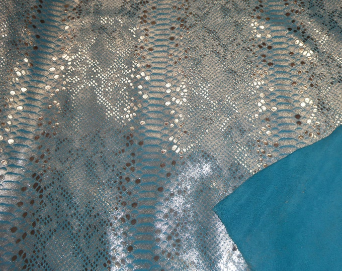 """Metallic Leather 8""""x10"""" Mystic SILVER on TURQUOISE Suede Cowhide 3.5-4 oz / 1.4-1.6 mm PeggySueAlso™ E2868-28 Full hides available"""
