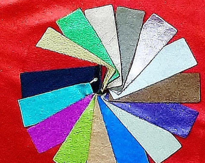 CHOICE of Color 3-4-5-6 or sq ft PEBBLED Metallic 16 colors - Soft Cowhide Leather 2.75-3 oz / 1.1-1.2 mm PeggySueAlso™ E4100