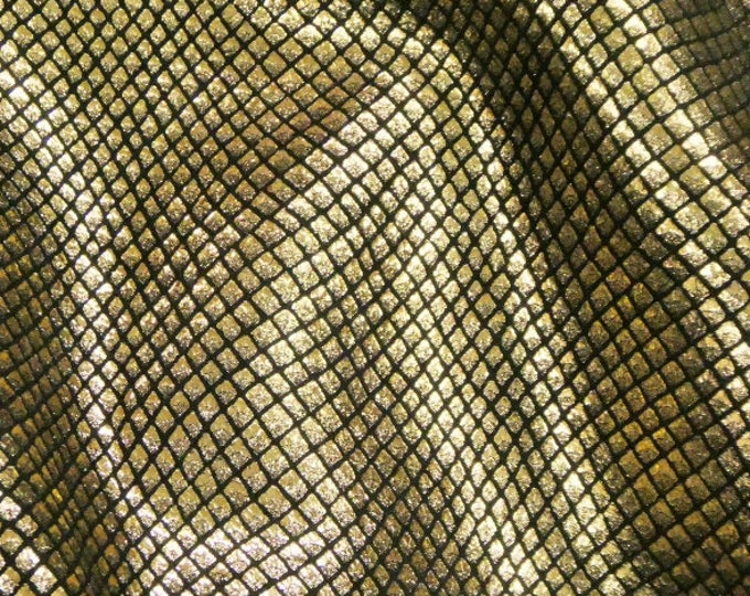 Metallic Leather 3 to 6 sq ft Fish Scales GOLD HALO on BLACK Cowhide 2.5-3oz / 1-1.2mm PeggySueAlso™ E3400-02 hides available