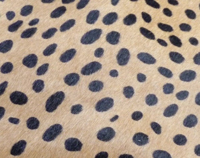 "Hair On Leather 5""x11"" Camel Tan wild CHEETAH with Black Spotted HOH Cowhide PeggySueAlso™ E2849-07"
