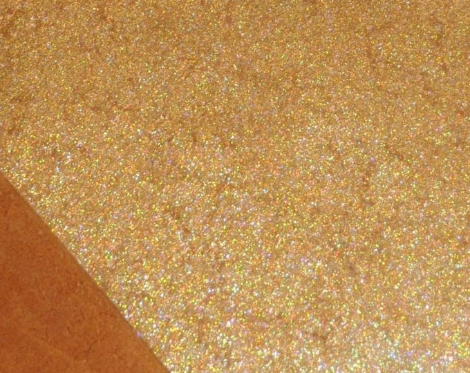 """Metallic Leather 8""""x10"""" Vintage Crackle GOLD HALO on TOAST Cowhide 3-3.5 oz / 1.2-1.4 mm  PeggySueAlso™ E2844-27"""