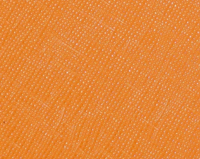 "Leather 12""x12"" Italian Saffiano TURMERIC ORANGE Spice Matte Weave Embossed Cowhide 2.5-3oz/ 1-1.2mm PeggySueAlso™ E8201-47 hides available"
