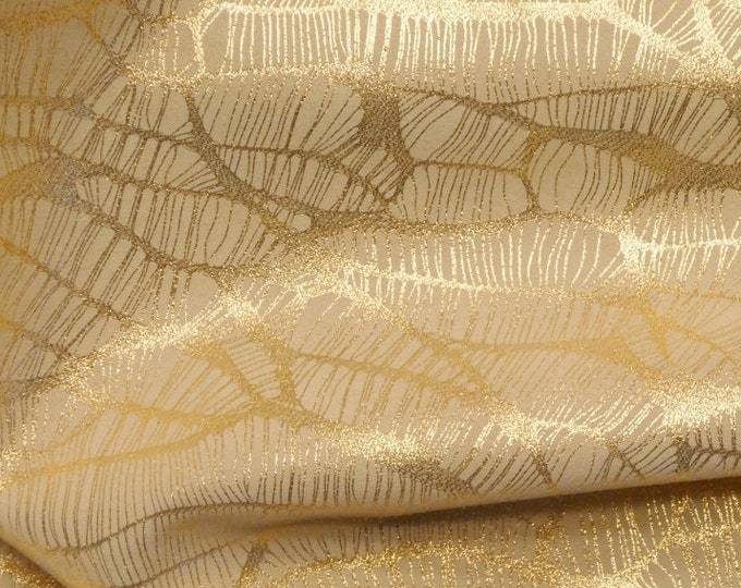 "Leather 12""x20"" or 10""x24"" or? Complex Spider Web GOLD METALLLIC on BEIGE Soft Cowhide Leather 3.25-3.5oz /1.3-1.4mm PeggySueAlso™ E3113-15"