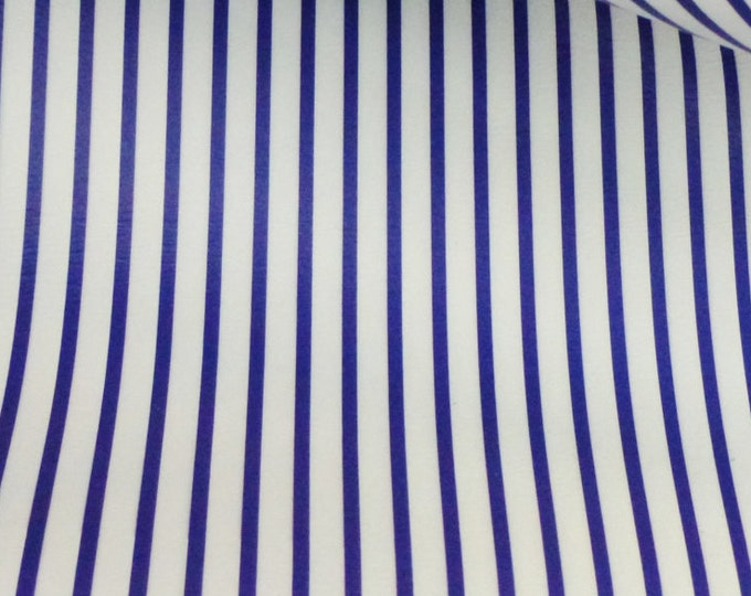 "Leather 12""x12"" PTR Royal Blue stripes on White Medium firm - not real soft Cowhide 2.5-3oz/1-1.2mm PeggySueAlso™ E3097-03"