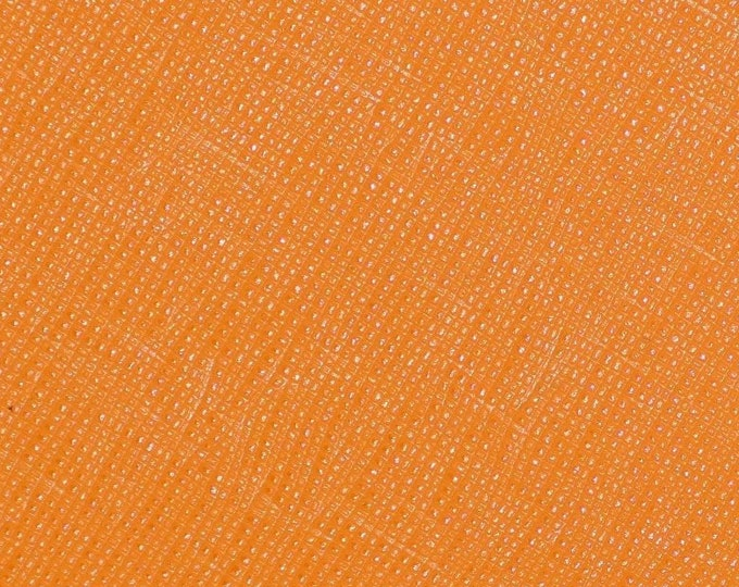 "Leather 8""x10"" Italian Saffiano TURMERIC ORANGE Spice Matte Weave Embossed Cowhide 2.5-3oz/ 1-1.2mm PeggySueAlso™ E8201-47 hides available"