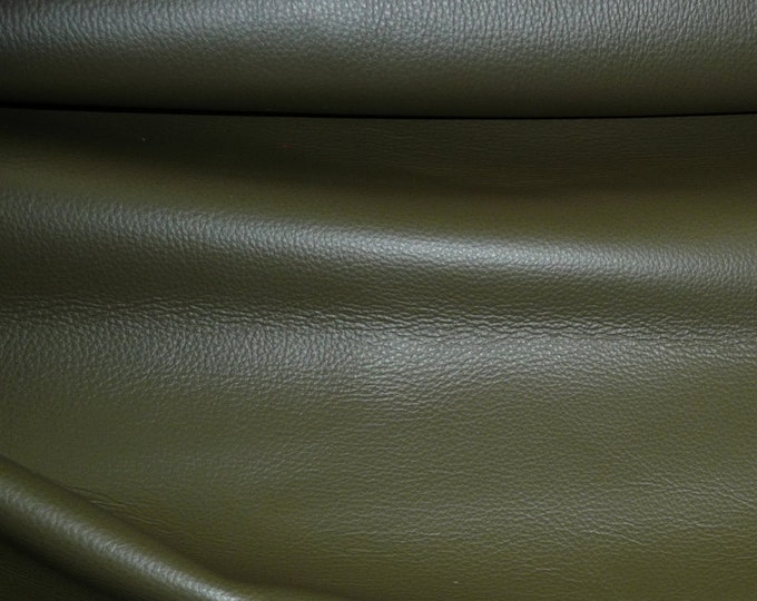 "Leather 12""x12"" King Deep OLIVE Drab Green / Khaki  full grain Cowhide 3-3.5 oz / 1.2-1.4mm PeggySueAlso™ E2881-02 Full Hides Available"