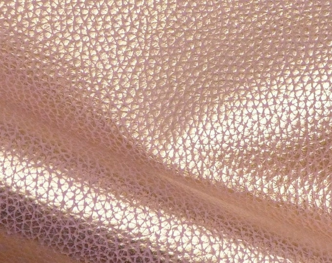 "Metallic Leather 8""x10"" Bison Look GOLD Tipped BLUSH PINK Embossed Cowhide 2.5oz /1 mm PeggySueAlso™ E8115-05 Hides Available"