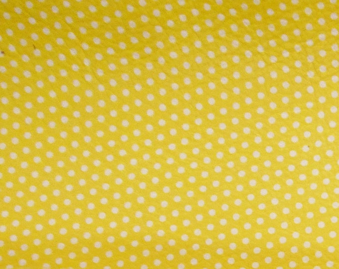 "Leather 8""x10"" Small WHITE Polka Dots on MELLOW Yellow (gray backside) Cowhide 2.5-3 oz / 1-1.2 mm PeggySueAlso™ E3090-50"