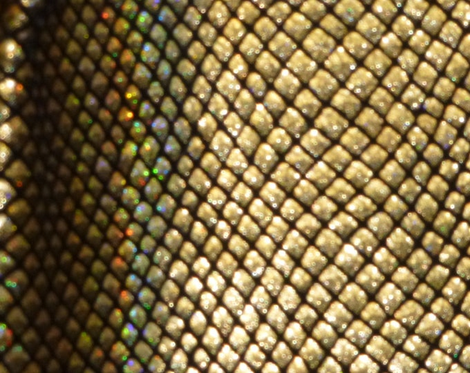 "Metallic Leather 12""x20"" Fish Scales GOLD HALO on Black Cowhide 2.5-3oz / 1-1.2mm PeggySueAlso™ E3400-02 Full hides available"