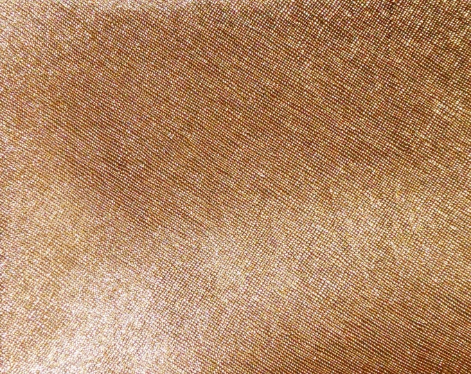 """Metallic Leather  12""""x12"""" Saffiano BRONZE Weave Embossed Cowhide 2.5-3oz/ 1-1.2mm PeggySueAlso™ E8201-16 hides available"""