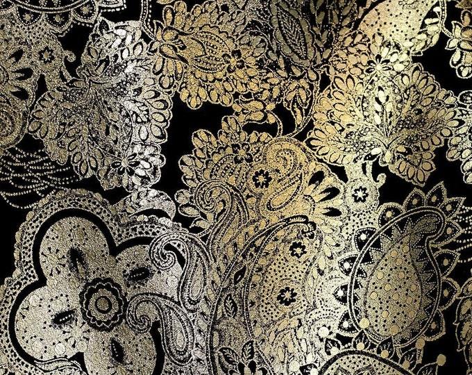 Metallic  Leather 3-4-5 or 6 sq ft Paisley Love PLATINUM  / Black Soft Cowhide 3-3.5oz /1.2-1.4 mm PeggySueAlso™ E3110-04 full hides too