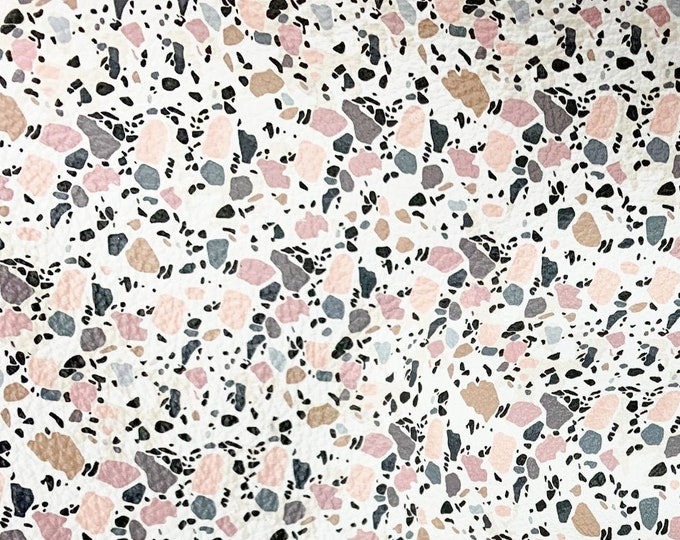 "LEATHER 12""x12"" MARBLED (pinks/grays) Granite Mosaic on White Terrazzo Cowhide 2.5-3 oz/ 1-1.2 mm PeggySueAlso™ E2502-01 Hides Available"