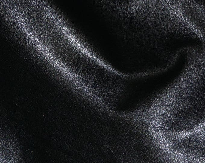 "Leather 20""x20"" Shiny Black Cowhide Tanned to Resemble GOATSKIN Leather 2 oz/0.8 mm PeggySueAlso™ E2655-01"