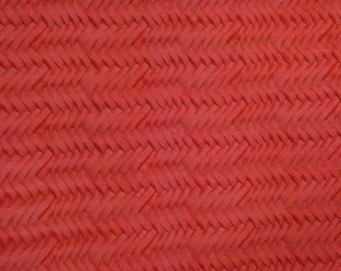 """Leather 12""""x12"""" Braided ITALIAN  Fishtail STRAWBERRY Red SOFT Cowhide 3 oz / 1.2 mm PeggySueAlso™ E3160-39"""