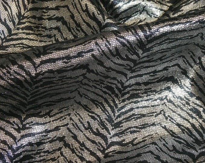"Metallic Leather 8""x10"" SILVER Tiger on BLACK Stripe & tiny squares SLIGHTLY Irridescent Cowhide 3-3.5oz /1.2-1.4 mm PeggySueAlso™ E2556-01"