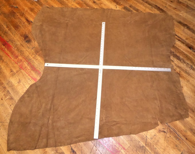 SALE Suede Leather CORDUROY Brown imprinted Cowhide (Priority A Box) 3.5 oz / 1.4 mm  PeggySueAlso™