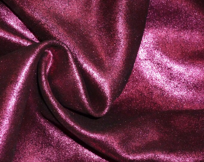 "Metallic Leather 12""x20"", 10""x24"" Vintage Crackle MAGENTA on BLACK Suede 3-3.5 oz/1.2-1.4mm PeggySueAlso™ E2844-10 hides available"