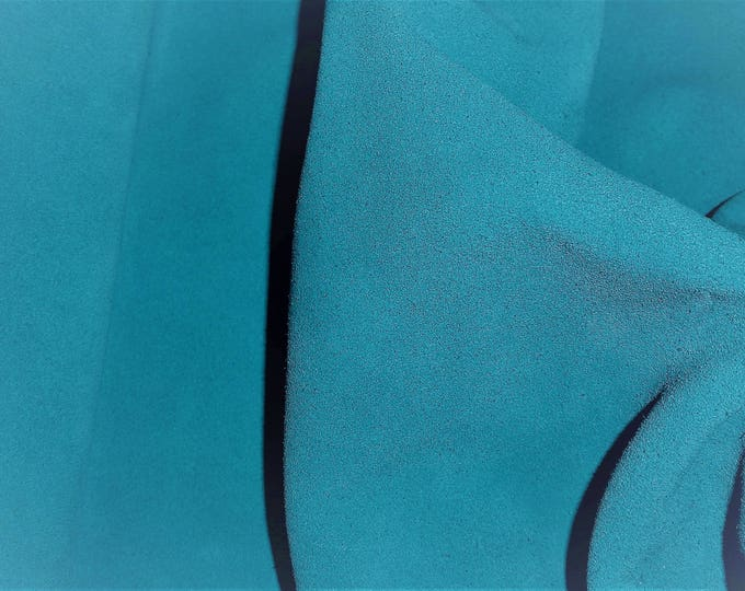 """Suede Leather 12""""x12"""" TURQUOISE Garment Grade Suede Cowhide 4 oz / 1.6 mm PeggySueAlso™ E2828-07"""